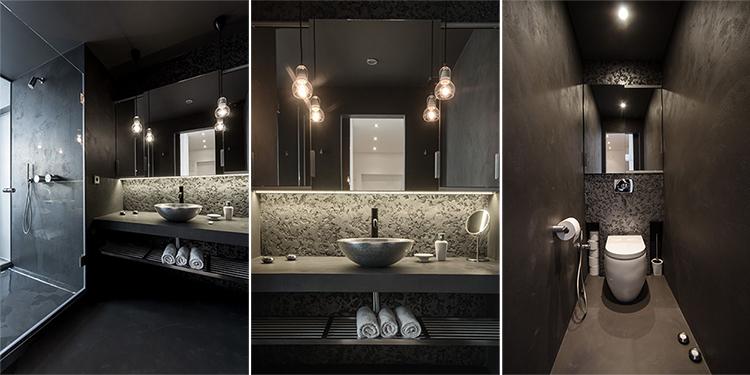 Дизайнерски бани в много тъмно сиво от чешкото студио Ooox
