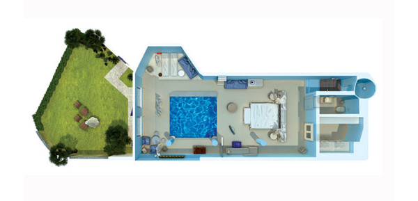 Vesta Mebel-Mykonos Blu villa 2 with pool Floorplan