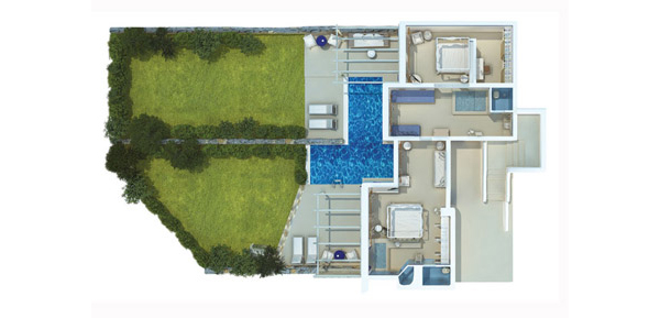 Vesta Mebel-Mykonos Blu villa with pool Floorplan