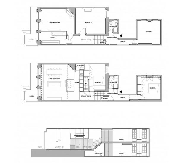 vesta mebel blog-De Vere Gardens flat- VW BS Franke - plan and section