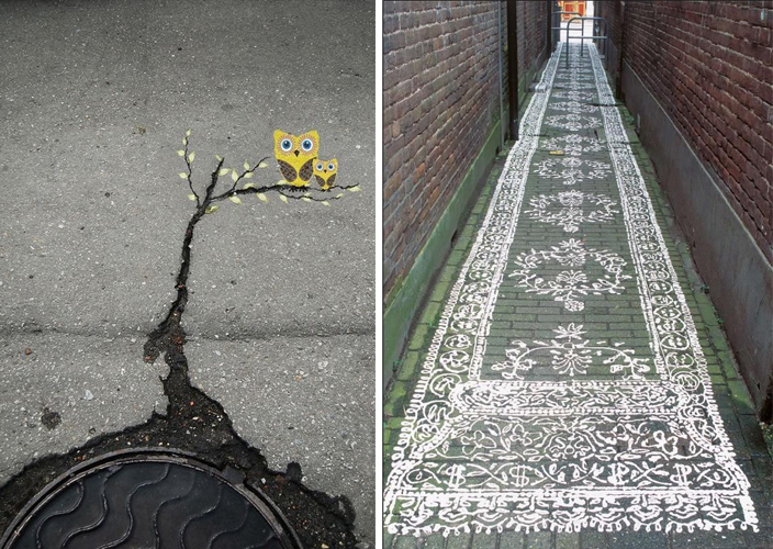 vesta mebel-streetart- owl and lace